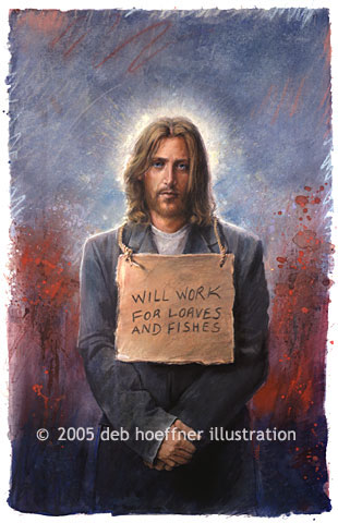 """Homeless Christ"" Copyright © 2005 Deb Hoeffner, http://www.debhoeffner.com. Used with permission."
