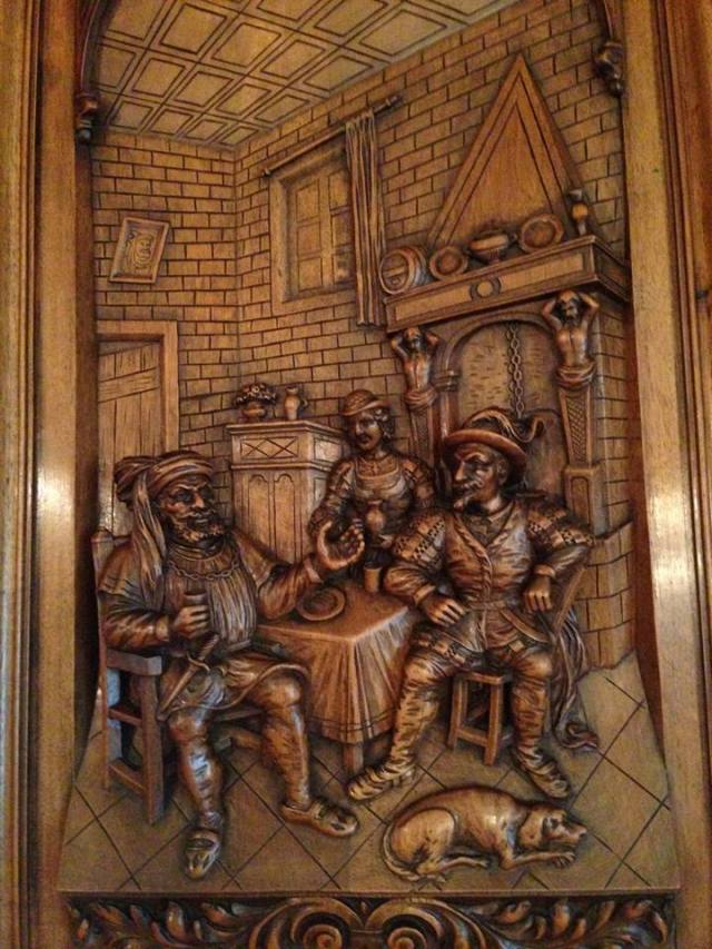 Woodcarving detail on the old German hutch/buffet in the B&B's dining room.