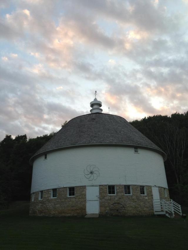 Dusk settles in around the 1914 round barn.