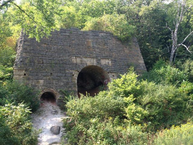 The old kiln at Barn Bluff was used to turn quarried stone into lime.