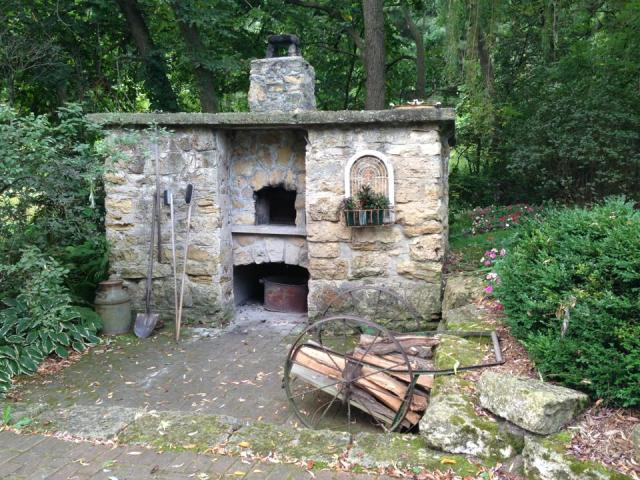 The farm's outdoor bread oven, a converted smoke house.
