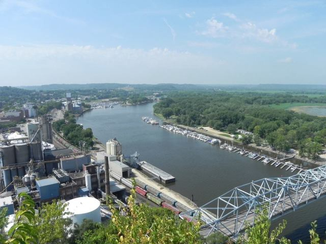 A postcard view of the Red Wing riverfront from atop Barn Bluff.